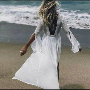 Bohemian White Lace Kimono Maxi Duster Beach Dress